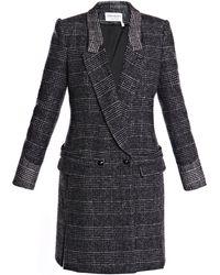 Saint Laurent Prince Of Wales Tweed Riding Coat gray - Lyst