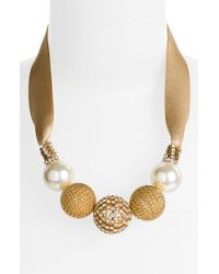 Cara Accessories Ball & Ribbon Necklace - Lyst