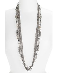Cara Accessories Crystal Strand & Multi Chain Necklace - Lyst