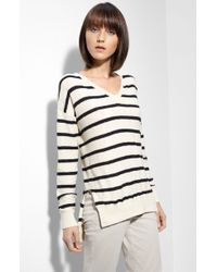 Vince Stripe Slub Knit Sweater - Lyst