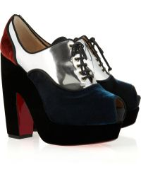 Christian Louboutin Enclume 140 Metallic Leather and Velvet Ankle Boots - Lyst