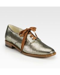 Robert Clergerie Metallic Leather and Lurex Lace-up Oxfords - Lyst