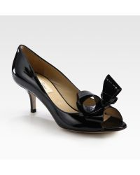 Valentino Patent Leather Peep Toe Bow Pumps - Lyst