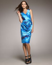 Vera Wang Wave Print Dress - Lyst