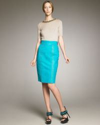 Burberry Prorsum - Stitch-trim Suede Pencil Skirt - Lyst