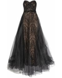 Marchesa Tulle and Lace Gown black - Lyst