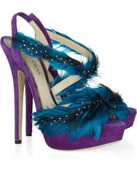 Jimmy Choo Marlene Feather and Suede Sandals - Lyst