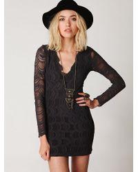 Free People Deep V Long Sleeve Lace Dress - Lyst