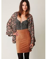 Free People Suede High Waist Pencil Skirt - Lyst