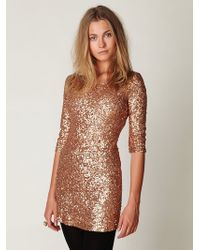Free People Sequin Sway Dress gold - Lyst