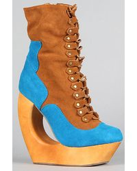Jeffrey Campbell The Rock Rose Shoe in Blue and Tan Suede - Lyst