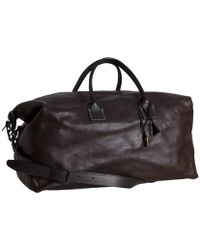 John Varvatos Dark Brown Leather Stretch Large Duffel Bag Lyst