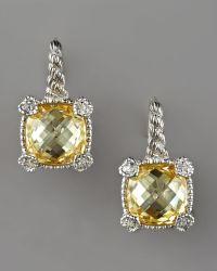 Judith Ripka - Cushion-cut Canary Drop Earrings - Lyst