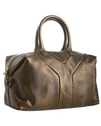 Saint Laurent Gold Metallic Calfskin Y Detail Bowler Bag - Lyst