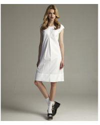 Dolce & Gabbana White Cotton Cap Sleeve Babydoll Dress - Lyst