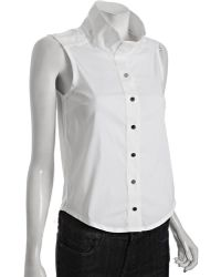 Gucci White Stretch Cotton Snap Front Sleeveless Blouse - Lyst