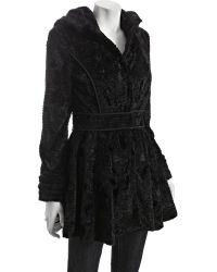 Laundry by Shelli Segal - Black Faux Fur Banded Waist Flared Coat - Lyst