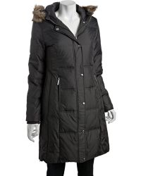 MICHAEL Michael Kors Gunmetal Quilted Nylon Down Filled Faux Fur Trimmed Hooded Three Quarter Parka - Lyst