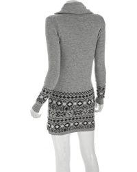 Qi - Granite Intarsia Cashmere Blend Funnel Neck Sweater Dress - Lyst
