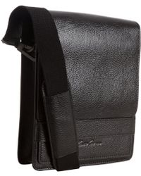 Kenneth Cole Black Leather Day Small Messenger Bag - Lyst