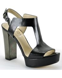 Kors by Michael Kors Vernon - Black Leather Platform Sandal - Lyst