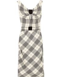 Zac Posen Plaid Wool and Silk-blend Dress - Lyst