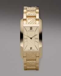 Burberry Check-engraved Rectangular Watch, Golden - Lyst