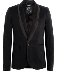 McQ by Alexander McQueen Black Cotton Shadow Shawl Tux Blazer - Lyst
