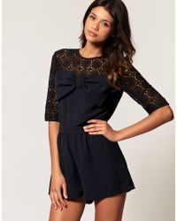 ASOS - Asos Lace Bow Playsuit - Lyst