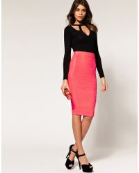 ASOS Collection Pencil Skirt in Sequins pink - Lyst