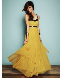 Free People Giannas Limited Edition Leather and Lace Gown - Lyst