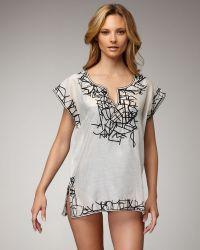 Oscar de la Renta Embroidered Satin Tunic, White - Lyst
