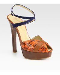 Vionnet Suede and Snake-print Leather Platform Sandals - Lyst