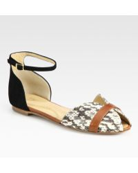 Vionnet - Suede and Snake-print Leather Sandals - Lyst