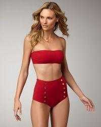 Saint Laurent High-waist Bandeau Two-piece red - Lyst