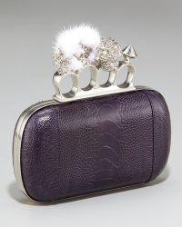 Alexander McQueen Mink & Ostrich Box Clutch - Lyst