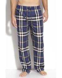 Burberry Check Pajama Pants blue - Lyst