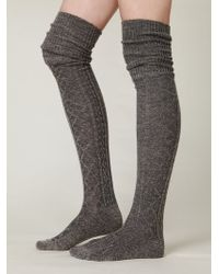 Free People Vintage Sweater Tall Sock gray - Lyst