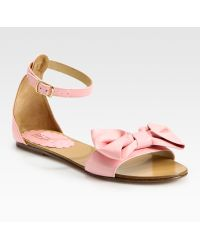RED Valentino Bow-embellished Leather Sandals - Lyst