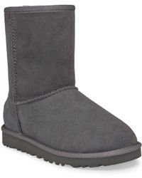 Ugg Grey Classic Short Boots - Lyst