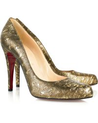 Christian Louboutin Apostrophy 85 Printed Glitter-Finished Leather Slingback Pumps gold - Lyst
