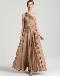 Halston Heritage Silk Chiffon One Shoulder Gown - Lyst