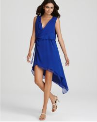Max Azria Sleeveless Drape Front Asymetrical Dress blue - Lyst