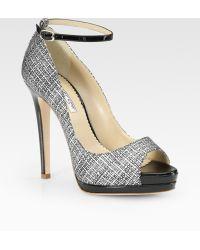 Oscar de la Renta Amalia Tweed-print Patent Leather Peep Toe Platform Pumps - Lyst