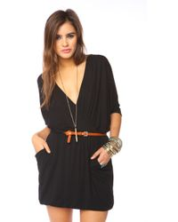 Nasty Gal Draped Across Dress - Black - Lyst