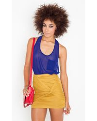 Nasty Gal Ruched Knot Skirt - Gold - Lyst