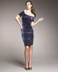 Nicole Miller Off-the-shoulder Velvet Dress - Lyst