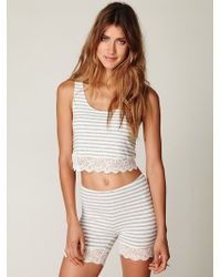 Free People Lace Trim Stripe Crop Top - Lyst