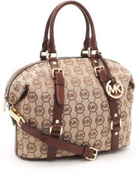 MICHAEL Michael Kors Medium Bedford Monogram Satchel - Lyst