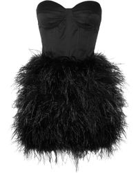 Rare Opulence Feather-Embellished Satin Bustier Dress - Lyst